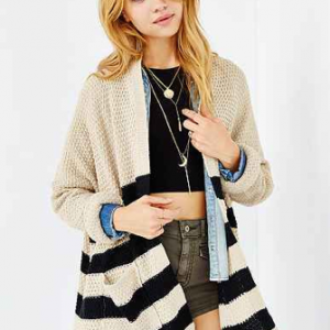 BDG Rolled-Sleeve Open Cardigan