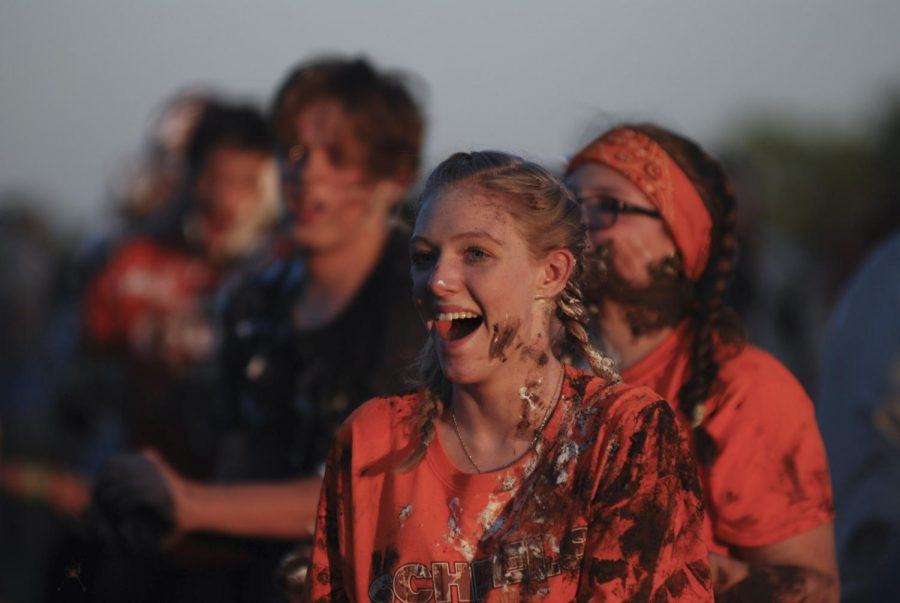 At Muckfest, sophomore Marissa Steele smiles Sept. 19 at Shawnee Mission Park.